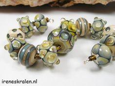 Lampwork BeadSet Handmade Glass Beads 13x raku by IrenesBeads, €34.50