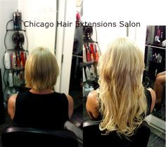 Micro Ring Hair Extensions in Chicago. Blonde, Brunette, Red, Black hair colors available.