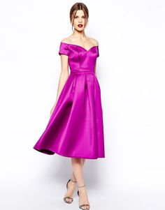 Pin for Later: 50 Fashionable Gifts For Christmas Under £50  ASOS Satin Bardot Midi Prom (£38)