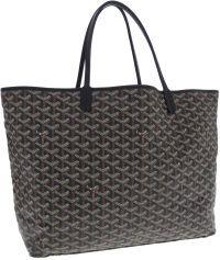 Luxury Accessories:Bags, Goyard Black Monogram Chevron Canvas Saint Louis Tote Bag. ...