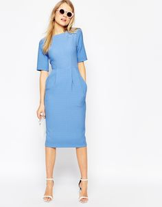Buy ASOS TALL Textured Wiggle Dress at ASOS. Get the latest trends with ASOS now. Womens Fashion For Work, Work Fashion, Modest Fashion, Fashion Dresses, High Street Fashion, Trendy Dresses, Cute Dresses, Dresses For Work, Business Dresses