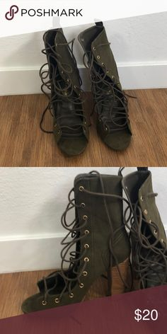 Shoes Green strap up heels Lauras Boutique Shoes Lace Up Boots