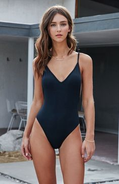 Solid Low Back One Piece Swimsuit