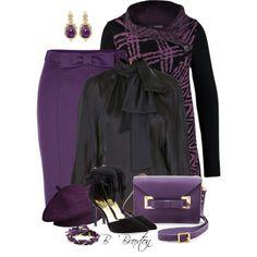 """Black & Purple"" by bbroxton on Polyvore"