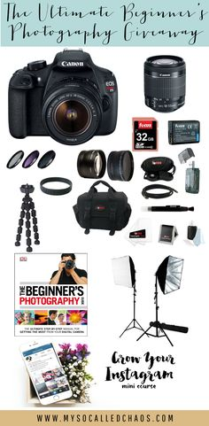 Enter to win the ultimate beginner photography giveaway! We're giving away a Canon Rebel DSLR Camera w/Lens, Canon Rebel Supplies, and more! Camera Photography, Photography Tips, Photography Logos, Amazing Photography, Take Better Photos, Photography For Beginners, Blog Tips, Digital Camera, About Me Blog