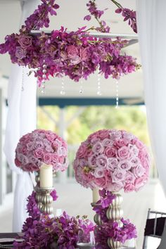 Hanging Flowers and Crystals! I love the design and the colors are perfect, not a fan of the balls of flowers though.