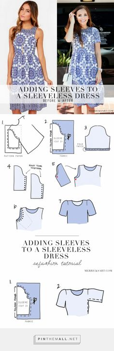 Adding Sleeves To A Sleeveless Dress (Refashion Tutorial) - from Merrick's Art