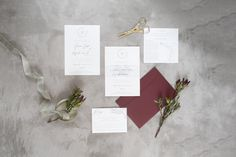 Grey, burgundy & ivory – an utterly romantic wedding colour pallet that creates a vintage and elegant look with a hint of modernism. This stacked wedding invitation consists of an A5 invitation, accommodation/map & directions and a RSVP card, assembled with a transparent vellum belly-wrap and packaged inside a gorgeous burgundy pocket. #wedding #weddinginvitations #invitation #greyandburgundyandivory #grey #burgundy #ivory #modern #vintage #elegant Why not pin it? Ivory Wedding Invitations, Save The Date Invitations, Romantic Wedding Colors, Timeless Wedding, Protea Wedding, Wedding Color Pallet, Gray Weddings, Wedding Save The Dates, Modernism