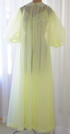 Vanity Fair Pale Lemon Chiffon Peignoir by Voilavintagelingerie 472786aa8