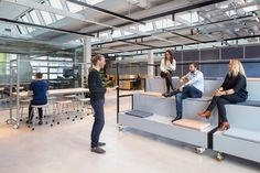 The Core Goes From Car Garage to Innovative Office – Design Milk – Office Design 2020 Innovative Office, Smart Office, Office 2020, Workspace Design, Office Workspace, Tiered Seating, Internal Design, Building Systems, Gothic House