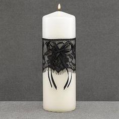 DIY wedding unity candles DIY Black Lace Unity Candle