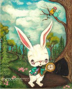 Alice In Wonderland Print Cute Alice and Flamingo Fairy Tale Wall Art--- Croquet Rescue Lewis Carroll, Dibujos Dark, Alice Rabbit, Alice In Wonderland Print, Doll Painting, Rabbit Hole, Cute Illustration, Large Prints, Fairy Tales