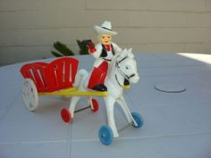 Rosbro Hard Plastic Candy Container. Valentine Cowboy rideing Horse and Cart