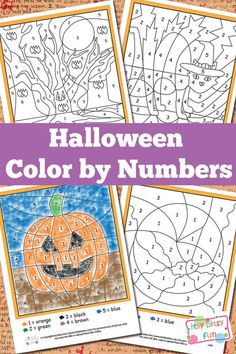 These cute Halloween free printables make fun kids crafts. Halloween Color by Numbers Worksheets are perfect Halloween activities.