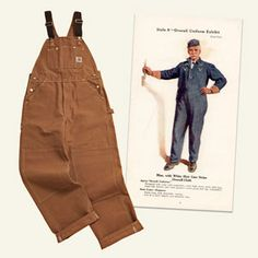 contemporary pair of brown Carhartt bib overalls next to a circa 1922 Carhartt ad showing a man in a pinstripe coat-and-overall ensemble