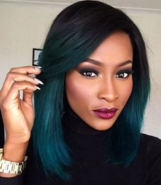 Teal Ombre - Black to Teal Ombre Hair Color #girlhaircuts
