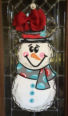 Snowman door hanger Winter snowman door hanger by aWhitofWhimsy
