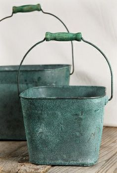 Verdigris Copper Buckets (Set of two)