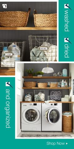 Love the labeled baskets. Could label big laundry baskets, and also one or two smaller ones for items that are stained or need repair. Laundry Room Remodel, Laundry Closet, Laundry Room Organization, Laundry Room Design, Storage Organization, Shop Storage, Laundry Rooms, Laundry Room Inspiration, Home Upgrades