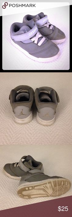 Toddler Jordan Velcro Elastic Sneakers EUC. Jordan sneakers.  Gray. Elastic laces built in w/ Velcro tab closure.  Size 9C.  Scuffs and wear from use.  Lots of life left in these.  Light weight.  Good soles.  Good play shoes. Jordan Shoes Sneakers