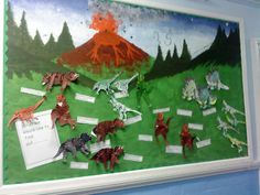 A super Dinosaurs classroom display photo contribution. Great ideas for your classroom! Dinosaur Bulletin Boards, Dinosaur Classroom, Dinosaur Party, School Displays, Classroom Displays, Classroom Decor, Class Displays, Classroom Design, Dinosaur Activities