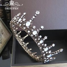 Royal Round Baroque Wedding Crowns Tiaras 2018 Rhinestone Crystal Jewelry Hair Accessories Bridal Headpieces Headbands For Women