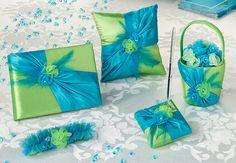 flower basket, guest book, pen set, garter and ring pillow.