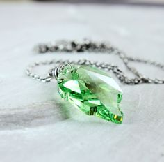 Spring Green Swarovski Necklace  by Hildes on Etsy
