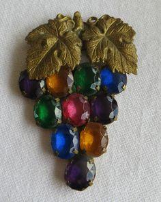 Antique Art Deco Czech Glass Grapes Brooch £28.00 (BIN)