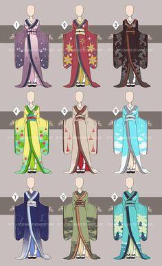 Kimono Time[Open by Seelenbasar. Anime Kimono, Anime Dress, Anime Uniform, Character Outfits, Character Art, Character Design, Dress Drawing, Drawing Clothes, Fashion Design Drawings