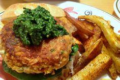 Mozzarella Stuffed Cannellini Burgers With Spinach Pesto [Vegan, Gluten-Free]   One Green Planet