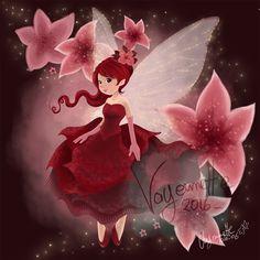 illustration fée rouge