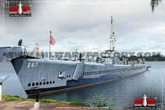 Bow portside view of the moored USS Bowfin (SS-287) at Pearl Harbor, Hawaii. USS Bowfin became one of the most successful USN submarines of the Second World War and survived the war, becoming a floating museum.