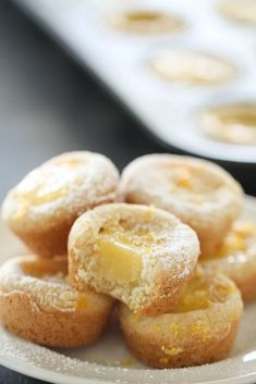 Sugar cookie cups with an easy, no-bake lemon curd filling. These tasty cookie cups are perfect for parties and showers! All the goodness of a lemon bar in one tasty cookie cup! Mini Desserts, Lemon Desserts, Lemon Recipes, Cookie Desserts, Cookie Bars, Delicious Desserts, Dessert Recipes, Bar Cookie Recipes, Individual Desserts