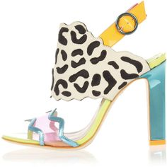Sophia Webster DIONNE LEOPARD Leather Shoes Heel 10 cm ($270) ❤ liked on Polyvore featuring shoes, multicolor, multi colored shoes, leopard print shoes, leather slingback shoes, peep toe slingback shoes and sling back shoes