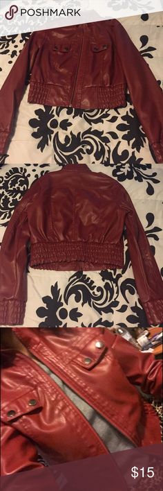 Dark Red Fx Leather Jacket 🍁This is a faux leather jacket is great condition! Perfect for the fall🍂 The plastic hanger left a line on the collar - see photos ! But you can barley notice it! 🍁-- shell 100% polyurethane with 100% rayon backing . Lining: 100% polyester Wet Seal Jackets & Coats