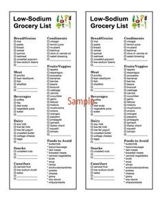 Low Sodium Diet Plan, Low Sodium Snacks, Low Sodium Recipes, Healthy Recipes, Healthy Tips, Diet Recipes, Low Carb, Grocery Lists, Food Lists