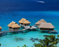A private hut on the water:Tahiti