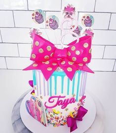 Jojosiwa Birthday Cake Dripcake Rainbowcake Colourful Colourpop Happybirthday Eight Huntervalleycakedecorater Bigbows Custom