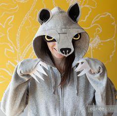 DIY Halloween Wolf Hoodie Costume