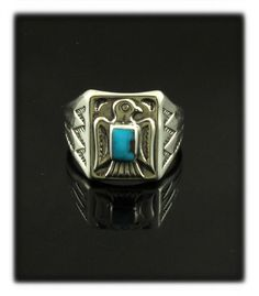 Fred Harvey Thunderbird Ring with Bisbee Turquoise