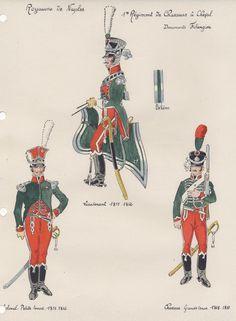 Royaume de Naples 1er Régiment de chasseurs à cheval Lieutenant 1811-12 Colonel petite tenue 1811-12 Chasseur grande tenue 1808-10
