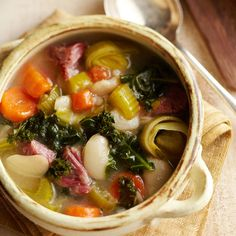 Slow Cooker Ham & Lima Bean Soup: Smoky ham flavors this slow cooker stew full of veggies and beans. Tip: Stir in fresh kale or spinach before serving for a fresh taste.