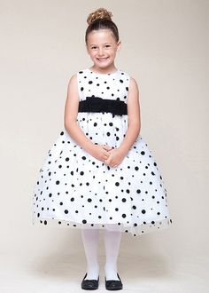 White with Black Polka Dot Holiday Girl Dress