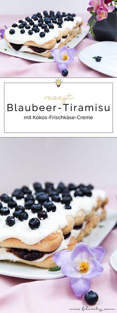 Sommer-Dessert Rezept: Blaubeer-Tiramisu mit Kokos-Frischkäse-Creme