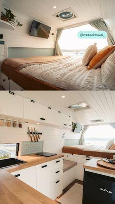 Van Conversion Interior, Camper Van Conversion Diy, Minimaliste Tiny House, Motorhome, Camper Life, Bus Life, Build A Camper Van, Kombi Home, Caravan Renovation