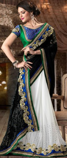 Black Georgette Saree #saree #sari #blouse #indian #hp #outfit #shaadi #bridal #fashion #style #desi #designer #wedding #gorgeous #beautiful