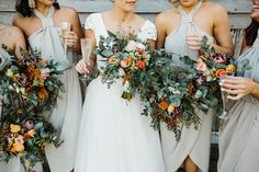 bridesmaids with native bouquets