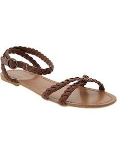 Women's Braided-Trim Cross-Front Sandals from Old Navy $19.94
