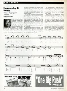 Hammering It Home - Bass Guitar Sheet Music - - Stuart Hamm - Bass Space - Bass Guitar - Vintage Sheet Music - Music Gift - Paper Ephemera by MusicSellerz on Etsy